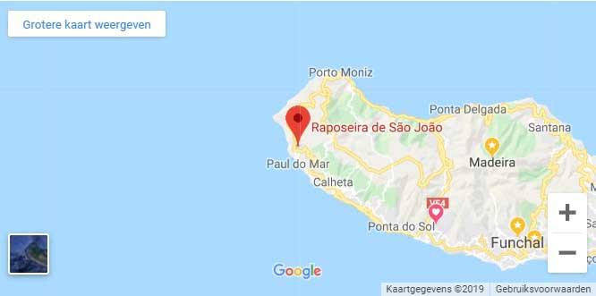 locatie van het vakantiehuis op Madeira